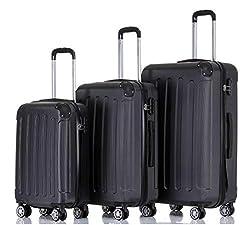 BEIBYE Hartschalen-Koffer Trolley Rollkoffer Reisekoffer Handgepäck 4 Rollen (M-L-XL-Set) (Schwarz, Set)