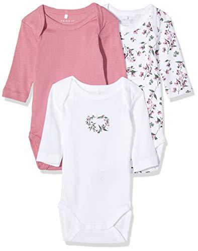Name IT NOS Baby-Mädchen 13173248 Formender Body, Mehrfarbig (Heather Rose Heather Rose), (Herstellergröße: 80) (3er Pack)