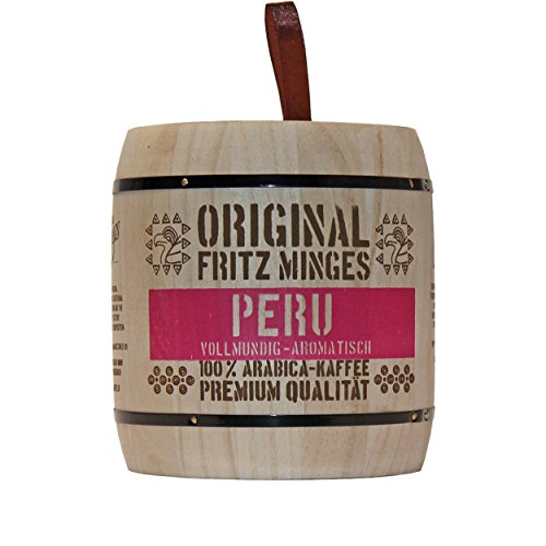 Fritz Minges Peru Hochland, Arabica Kaffee, ganze Bohne, Aroma-Softpack (Holzfass), 250 g