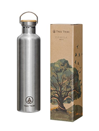 Tree Tribe 1 Litre Stainless Steel Water Bottle - Indestructible, BPA Free, 100% Leak Proof, Eco Friendly, Double Wall Insulated for Cold/Hot Drinks, Large with Wide Mouth - Ideal for Hiking, Outdoor Sports, Yoga, Gym, Office Thermos, Camping