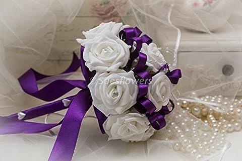WEDDING FLOWERS BRIDESMAID BOUQUET IN PURPLE & WHITE