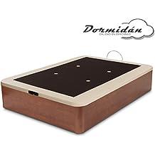 Dormidán - Canapé abatible gran capacidad esquinas redondeadas macizas, base tapizada en 3D transpirable / polipiel, 4 válvulas de aireación, 135x190cm, color cerezo