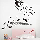 Black Flying Feather Angel Stickers Muraux Salon Tv Fond Chambre Chambre Décoration Art Stickers...