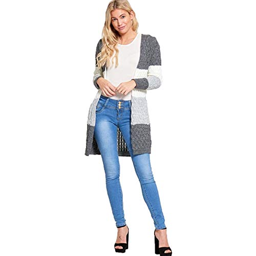 J5 (6652) Women's Two Tone Cable Knitted Cardigan Grey/S-M for sale  Delivered anywhere in Ireland