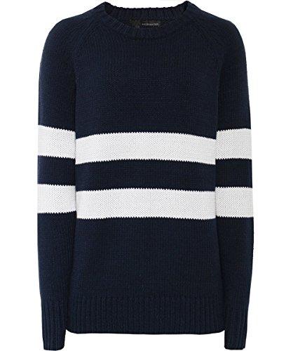 Lou Lou Damen Pullover (360 Sweater Damen Lou breite Streifen Pullover Mitternacht & Marmor S)