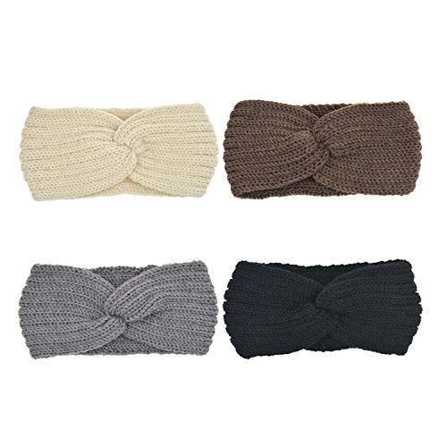 DRESHOW Gehäkeltes Turban-Stirnband mit Ohrenwärmer für Damen Einheitsgröße Packung Mit 4 -