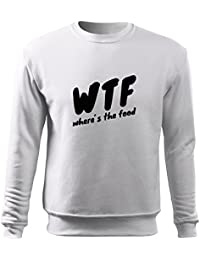 OwnDesigner Herren Pullover wtf where´s the food Shirt - schwarz   weiß mit  Motiv e91b6f7652