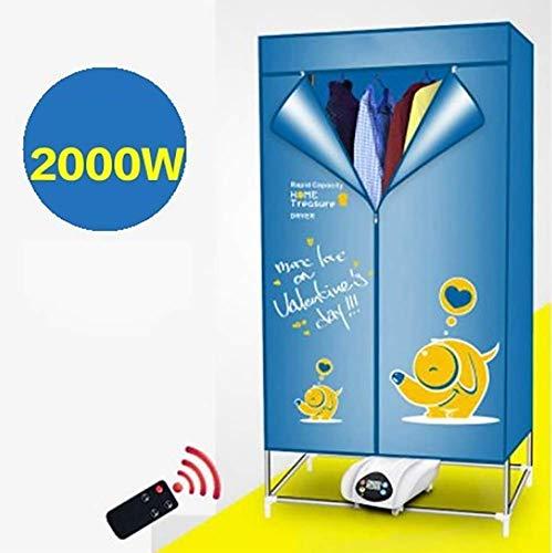 JXWWN Tragbarer Elektrischer Wäschetrockner, Tragbarer Haushaltstrockner - 2000W Hochleistungs-sterilisation (15kg) Mit Fernbedienung.(Touchscreen),Blue