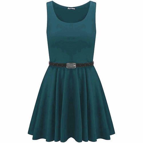 Momo Fashions Damen Kleid Frankie Übergröße mit Gürtel Türkis - Blaugrün