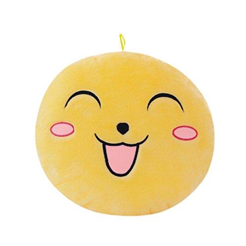 Malloom® Nettes Design emoji Glühen LED Kissen Licht weichen Kissen Geschenk Haus Plüsch Kinder (gelb) (Seitenschweller Design)