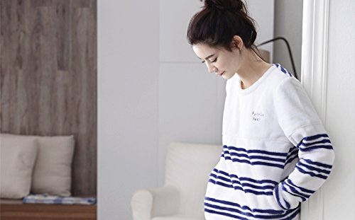 Oneworld Damen Flanell Pyjamas Set zweiteiliger Schlafanzug Hausanzug Lang Winter Dick Warm Riefe F6143 woman