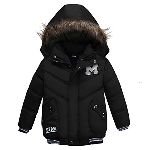 KIMODO Winter Padded Jacket, Cotton Hooded Coat Thick Warm Zipper Outwear Clothes for Baby Girl Boy (90CM(2T), Black)
