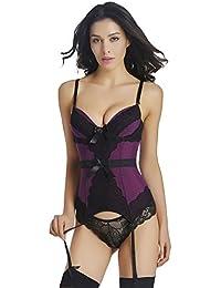Lover-Beauty Corsé Mujer Bustier Cintura Alta Sexy Cinturón Sexy Bustier Shapewear Bow-Knot con Pantalones