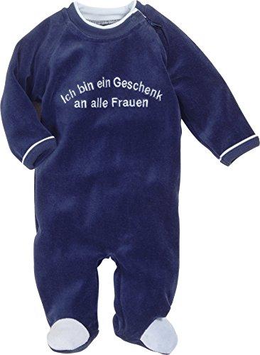 Schnizler Baby-Jungen Schlafstrampler Schlafoverall Nicki mit Stickerei: Geschenk an Alle Frauen, Oeko-Tex Standard 100, Blau (Marine 11), 62