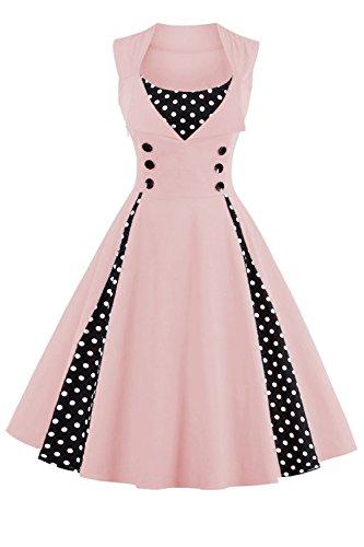 Babyonlinedress Robe de Soirée Cocktail Courte Rétro Vintage Impression année 1950 Style Audrey Hepburn Rockabilly Swing avec Boutons Grande Taille Pois Rose S
