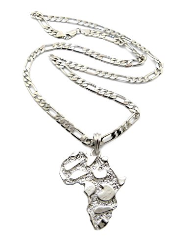 Africa Mosaic Pendant 61cm Figaro Chain Necklace in Silver-Tone MSP352R