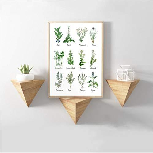 mmbj Küche Kunst Dekoration Botanical Chart Wandkunst Leinwand Poster Kräuter und Gewürze Malerei Bild Herbarium Home Wall Decor 50x70 cm - Chart Leinwand Arbeit