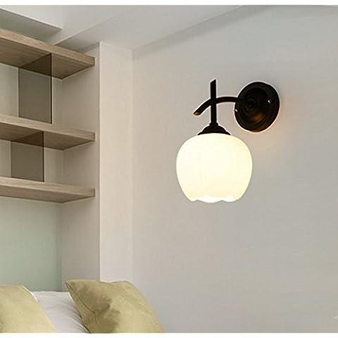 midtawer Villaggio americano singola testina nero e di classe energetica minimalista caldo letto camera da letto luci da parete, la fioritura dell'alloggiamento della lampada