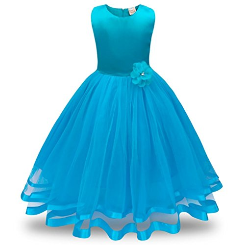 ❤️Kobay Blume Mädchen Prinzessin Brautjungfer Festzug Tutu Tüll-Kleid Party Hochzeit Kleid (Hellblau, 110 / 3 Jahr)