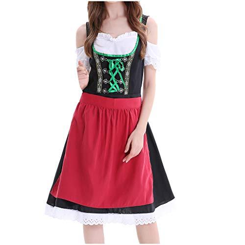 Womens Kostüm Oktoberfest Fraulein - Oktoberfest Kostüm für Damen karnevalskostüme Bierfest Spitzen Schürze Kleid Anzug ELegant Kurzarm Trachtenkleid Bayerische Retro Cosplay Festlich Ballkleid karnevalskostüme (2XL, rot)