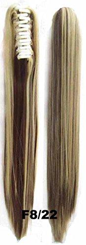 Queen Wig lange Gerade Jaw Greifer-Klipp-Pferdeschwanz-Klipp auf HaarVerlaengerung Stueck Pony Herbst - #8/22 Medium Braun / Hellblond