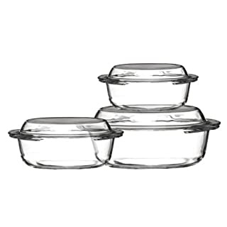 Hermosas Set Of 3 Casserole Dishes Made Of Tempered Glass Material With Beautiful Lids by acropolebits