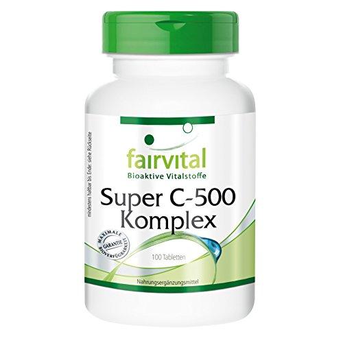 Super C-500 Complexe: complexe de vitamine C 500mg avec acérola, rutine et bioflavonoïdes, 100 comprimés végétariens