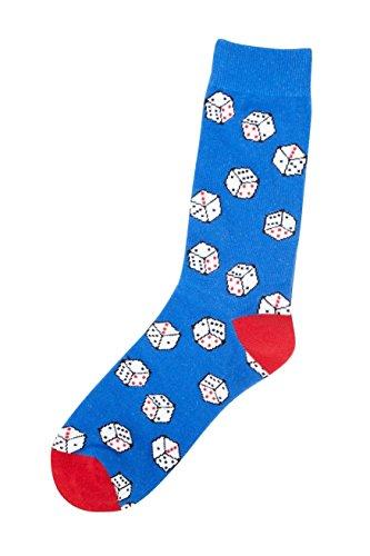 Brave Soul Herren Jungen 1-Paar Socken Söckchen Muster Spieler weiße Würfel Zocker Charakter Blau Funny Dice 41-46