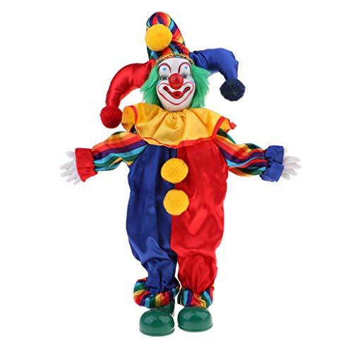 Clown Kostüm Puppe - Baoblaze Porzellan Clown Kostüm Puppe Kinder Spielzeug Geschenke Halloween Weihnachten Dekoration - # 1, 35 cm