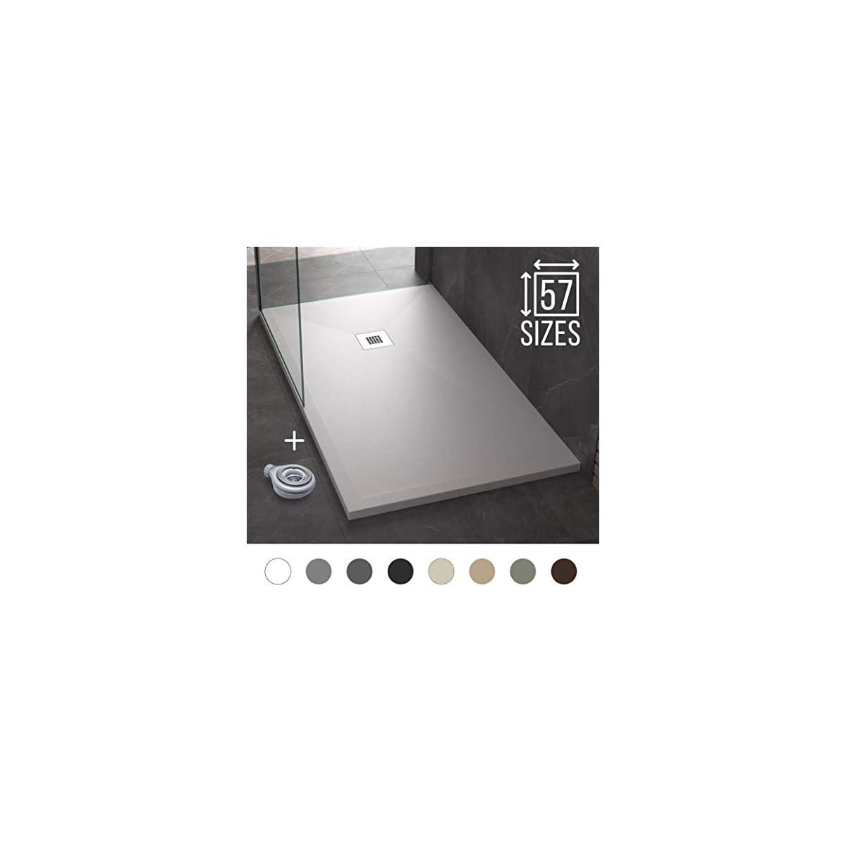 41eItA5KcjL. SS1200  - Plato de Ducha Resina Pizarra Stone - Antideslizante y Rectangular - Todas las medidas disponibles - Incluye Sifón y Rejilla