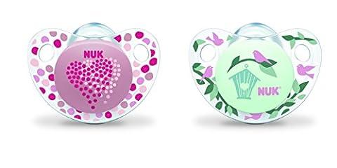 Nuk Trendline 2 Sucettes pour Fille Motif Fleur/Cœur 0-6