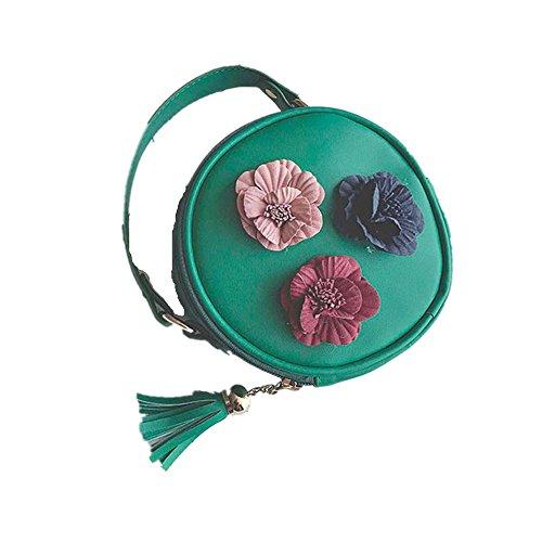 Longra Donna Borsa tridimensionale rotonda con fibbia singola Verde
