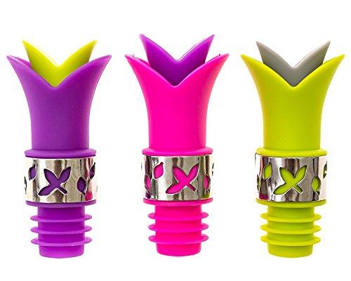 Weinflaschenverschluss und Ausgießer aus Silikon mit Edelstahl-Akzent, 3Stück, Verschluss und Ausgießer für ein Glas Wein, Öl zum Kochen, Likör, Aroma-Flaschen, Green,pink,purple -