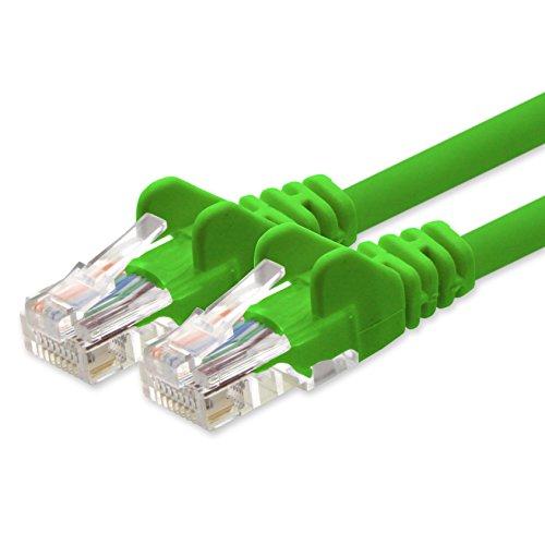 1aTTack.de 1,5m - grün - 1 Stück CAT5 Netzwerkkabel Patchkabel LAN Kabel Cat.5 Ethernetkabel kompatibel zu CAT5e CAT6 CAT6a Cat7 Cat8 für Router Modem Patchpannel Internet Smart TV Xbox -