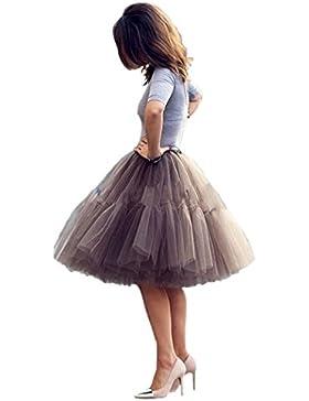 NUOMIQI falda de tul de las mujeres falda plisada princesa de 5 capas de la falda del ballet de la enagua del...