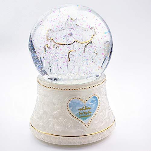 AIBAB Sprachaktivierte Laternenkarussell-Spieluhr Spieluhr Mit Kristallkugel Sprachaktivierte Beleuchtung Geschenk