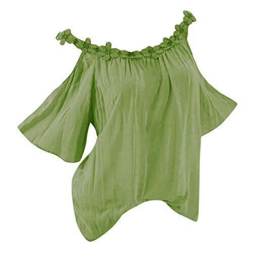 Bringbring Damen Bluse Einfarbig Schulterfrei Kurzarm Damenblusen Tunika Blusenshirt Hemd Elegant Oberteile Tops T-Shirt - Designer Elegante Shirt Aus Baumwolle