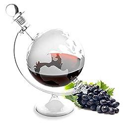Lantelme Cognac Glas Whiskykaraffe Weltkugel Karaffe eingravierter Weltkarte Whisky Wein Likör Caraffe 4964