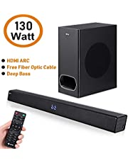 Zoook Rocker Studio One 130 watts Wireless Bluetooth SoundBar with Subwoofer, HDMi Arc, Fiber Optic Cable (Black)