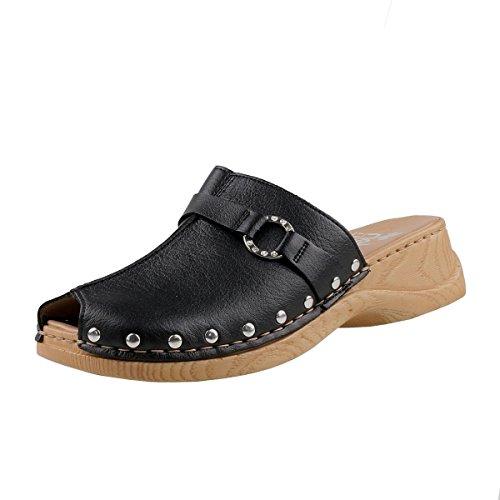 Rieker Damen Clogs 65062-01 Schwarz, Schuhgröße:EUR 40