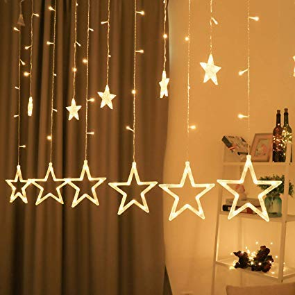 The Purple Tree Decorative Star and Moon Curtain LED Lights for Diwali Christmas Wedding - 2.5 Meter (1 Curtain) Diwali Lights, Decorative Lights, Diwali Lights for Window, Festive Lights, led Lights