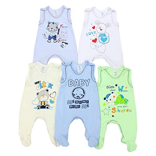 TupTam Unisex Baby Strampler mit Aufdruck Baumwolle 5er Pack, Farbe: Junge, Größe: 56