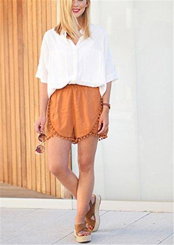 Wealsex Damen Sommer mini Shorts Lässig Quaste Shorts Orange