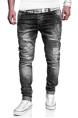MT Styles Jeans Slim Fit Hose RJ-3182 [Dunkelgrau, W31/L32]