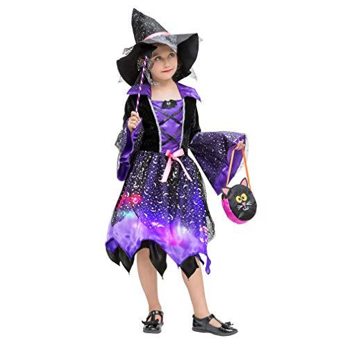 Kostüm 80's Mode Kinder - Cloud Kids Leuchtende Hexenkostüm mit Hexenhut Mädchen Halloween Kinder Cosplay Verkleidung für Karneval Fasching Lila Körpergröße 110-120cm