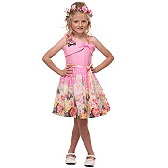 Cutecumber Girls Polyester Floral Pink Sleeveless Dress-(1605D-Pink-38)