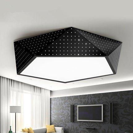 Geometrische Drei-licht-anhänger (YZYSTOR Einfache Led Lampe Schlafzimmer Esszimmer Wohnzimmer Lampe Licht Modernen Geometrischen Eisen Lampe Persönlichkeit Kreative Deckenbeleuchtung,? 60/96W Tricolor-Fernbedienung)