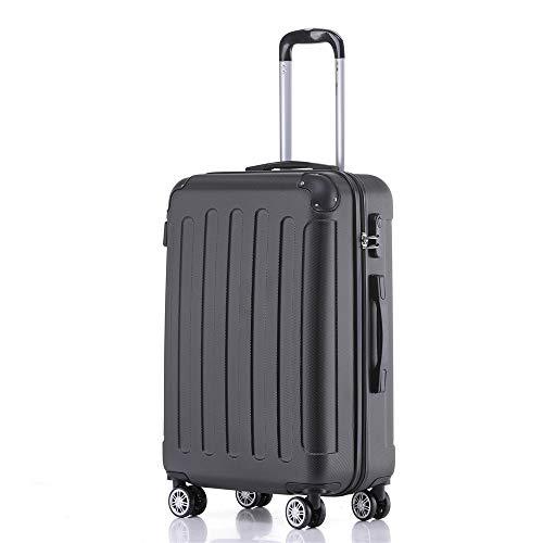 Handgepäck Koffer Hartschalen Trolley Rollkoffer Reisekoffer Mit Schloss Und 4 Rollen Leichtgewicht ABS Koffer Hartschale Für Reisen - Schwarz-XL