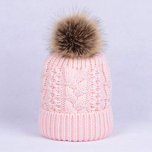 Huichao Chapeaux d'automne et d'hiver pour Hommes et Femmes, Chapeaux en Tricot Double,Pink