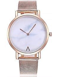 5bf64154c392 ZXMBIAO Reloj De Pulsera Banda De Malla Metálica Reloj De Cuarzo De Mármol  para Mujer Relojes